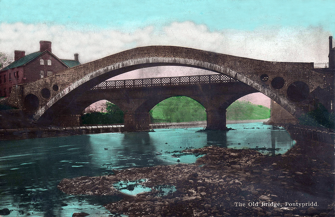 Glamorgan, Pontypridd, The Old Bridge in Colour